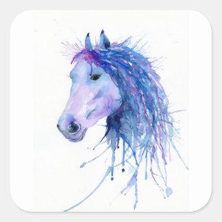 Watercolor Abstract Horse Portrait Square Sticker