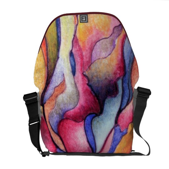 Watercolor Abstract in Pinks, Blues,Gold Messenger Bag