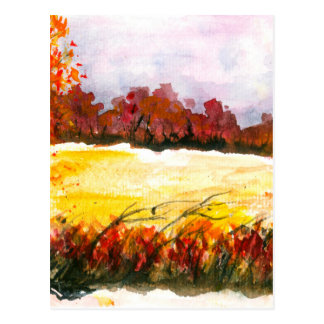 Watercolor Abstract Landscape Art Autumn Trees Postcard