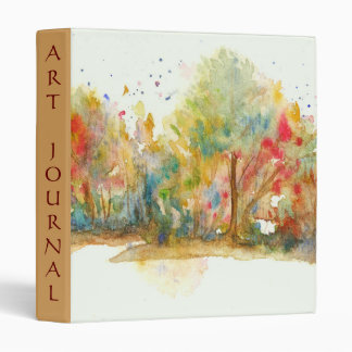 Watercolor Abstract Landscape Art Trees Forest 3 Ring Binder
