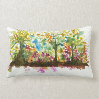 Watercolor Abstract Landscape Art Trees Forest Lumbar Pillow
