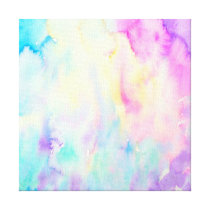 Watercolor abstract Landscape blue purple canvas
