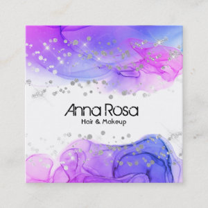 *~* Watercolor Abstract Magenta Blue  Modern Square Business Card