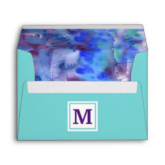 Watercolor Abstract Monogram Blue Purple Teal Envelope
