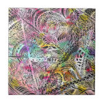 Watercolor abstract paisley illustration pattern ceramic tile