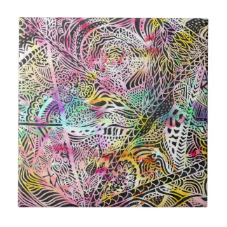 Watercolor abstract paisley illustration pattern small square tile