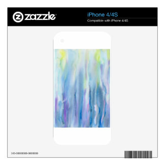 Watercolor Abstract Pattern Purple Strip Decal For iPhone 4