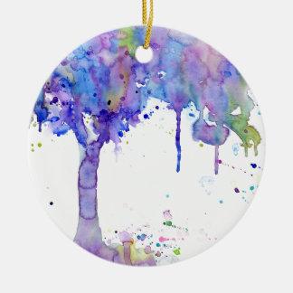 Watercolor Abstract Purple Tree Canopy Ceramic Ornament