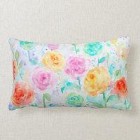Watercolor Abstract Ranunculus Pillow Cushions