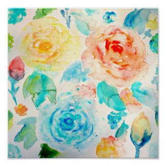 Watercolor Abstract Rose Art Print