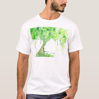 Watercolor abstract spring tree, green tree canopy T-Shirt