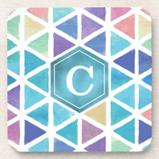 Watercolor Abstract Triangles (Coral Reef Tones) Coaster