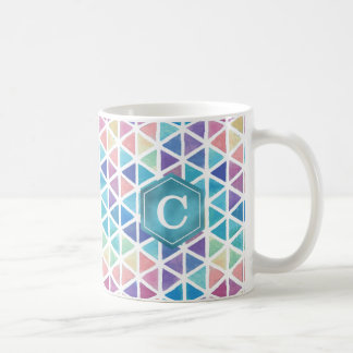 Watercolor Abstract Triangles (Coral Reef Tones) Coffee Mug