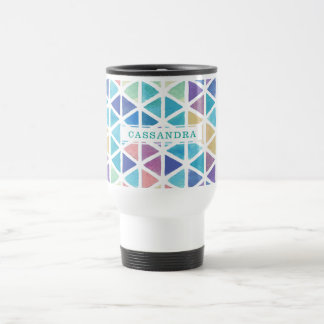 Watercolor Abstract Triangles (Coral Reef Tones) Travel Mug