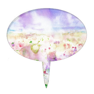 Watercolor abstract wildflower meadow painting cake topper