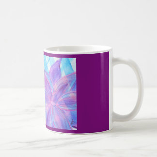 Watercolor abstract with graphic and flower coffee mug