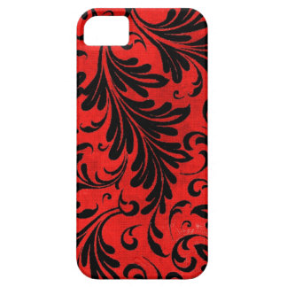 Watercolor Acanthus Leaves Black Red Scarlet iPhone 5 Cover