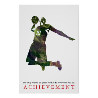 Watercolor Achievement Motivational Basketball Poster