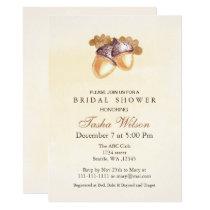 Watercolor Acorns Fall Bridal Shower Invite