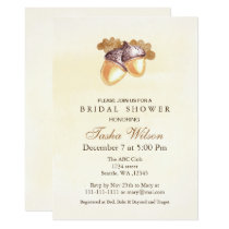 Watercolor Acorns Fall Bridal Shower Invite