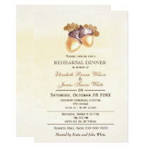 Watercolor acorns Fall rehearsal dinner invite