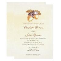 watercolor acorns oak leaves fall wedding invitation