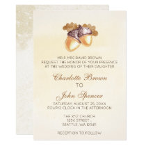 watercolor acorns oak leaves fall wedding invites
