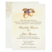 watercolor acorns oak leaves fall wedding invites