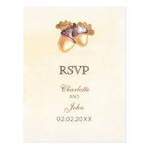 watercolor acorns oak leaves fall wedding rsvp postcard