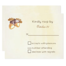 watercolor acorns oak leaves wedding RSVP card