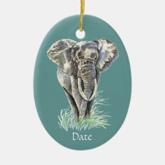 Watercolor African Elephant Animal Nature Art Ceramic Ornament