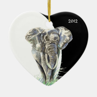 Watercolor African Elephant Animal Nature Art Double-Sided Heart Ceramic Christmas Ornament