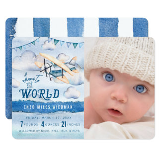 Watercolor Airplane Boy Birth Announcements