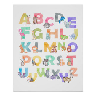 Posters - Watercolor Alphabet Animals Poster