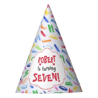 Watercolor alphabet custom kids birthday party hat