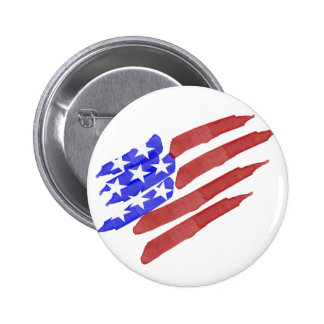Watercolor American Flag Pinback Buttons
