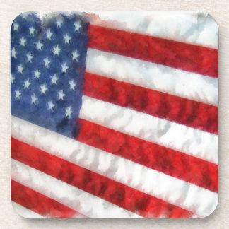 Watercolor American Flag Drink Coaster