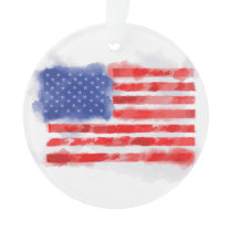 Watercolor American Flag for Veterans and Patriots Ornament