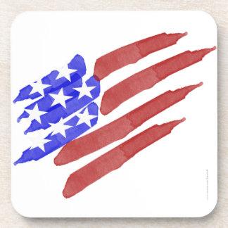 Watercolor American Flag Patriotic Coaster Set