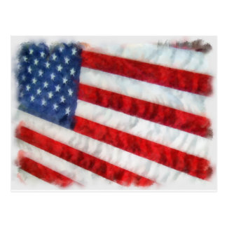 Watercolor American Flag Postcard