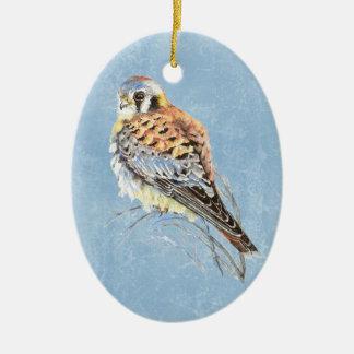 Watercolor American Kestrel, Falcon Bird Hawk Ceramic Ornament