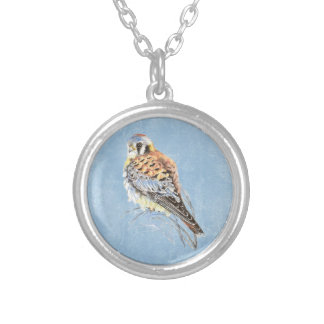 Watercolor American Kestrel, Falcon Bird   Hawk Silver Plated Necklace