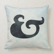 Watercolor Ampersand Nautical | Black & Sea Colors Throw Pillow