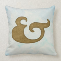 Watercolor Ampersand Nautical | Gold & Sea Colors Throw Pillow