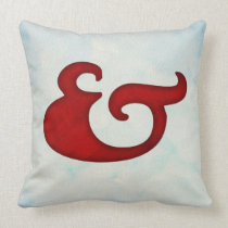 Watercolor Ampersand Nautical | Red + Sky Throw Pillow