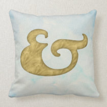 Watercolor Ampersand Nautical | Sea Colors & Gold Throw Pillow