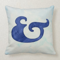 Watercolor Ampersand Nautical | Shades of Blue Throw Pillow