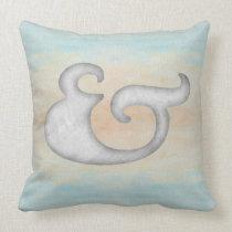 Watercolor Ampersand Nautical | White & Ocean Throw Pillow