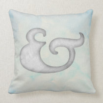 Watercolor Ampersand Nautical | White & Sky Throw Pillow