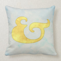 Watercolor Ampersand Nautical | Yellow + Sky Color Throw Pillow